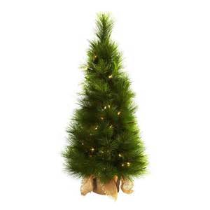 shop nearly natural 3 ft pre lit slim artificial christmas tree with clear white incandescent