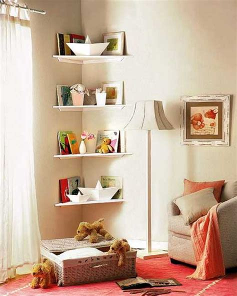 simple diy corner book shelves adding storage spaces