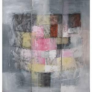 Tableau Rose Et Gris : tableau triptyque carr gris 120x115 peintre suarsa bali ~ Teatrodelosmanantiales.com Idées de Décoration