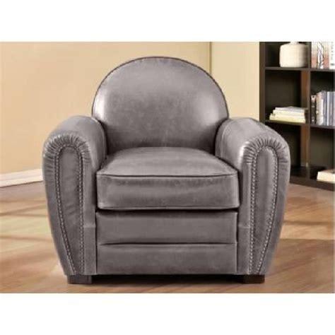 fauteuil club en cuir vieilli baudoin gris achat