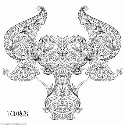 Zodiac Coloring Taurus Pages Sign Getcoloringpages Adult