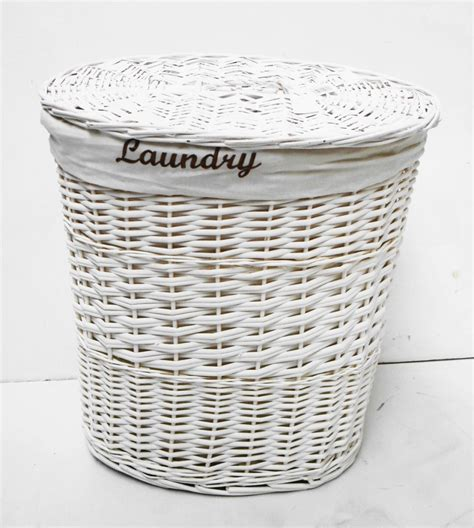wicker laundry basket with lid brown or white oval wicker laundry basket with lid and 1897