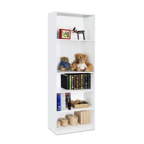 Open Bookcase White by Furinno Jaya 5 Shelf White Open Bookcase 14110r1wh The