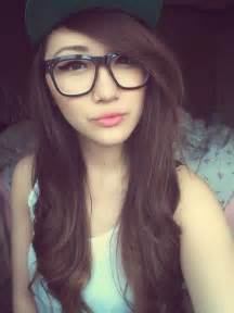 Cute Asian Girl with Glasses Selfie