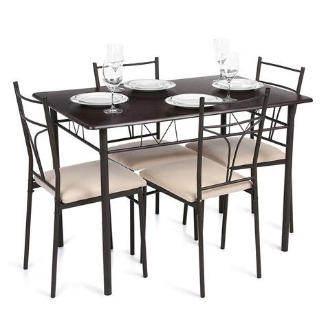 table cuisine 4 personnes ikayaa 5pcs moderne métal chaises cadre salle à manger