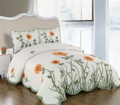 Yellow Quilts And Coverlets by 3 Pieces 3d White Green And Yellow Sunflower With