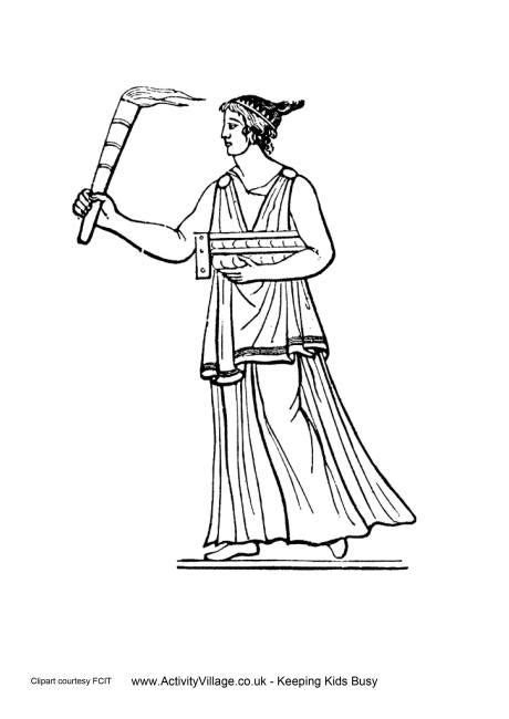 Ancient Greeks Torch Colouring Page | Women in ancient