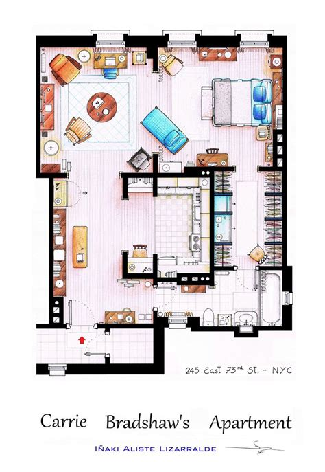 detailed floor plans  tv show apartments twistedsifter