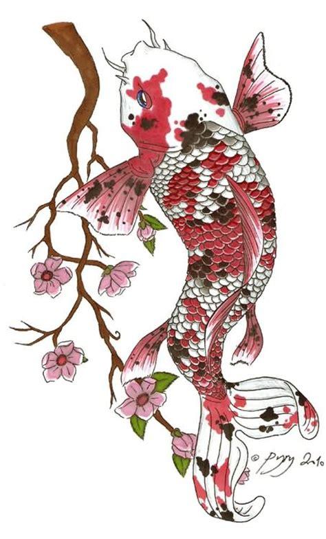 blue ink koi fish  flowers tattoo design  joytoy