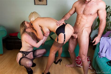 Hot MILFS in stockings Jan and Holly fuck one luck guy - Pichunter