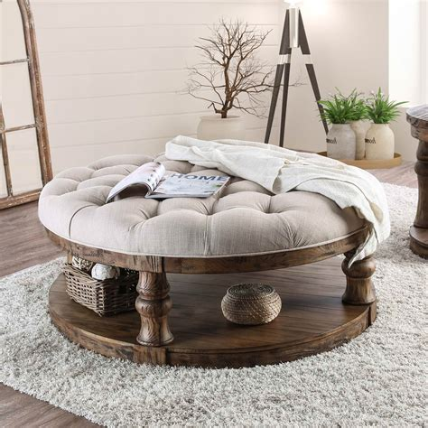 Maison arts round storage ottoman vanity stool leather pouf ottoman coffee table side table foot stool for living room seat dressing chair footrest, black. Furniture of America Tanenbaum Rustic Round Coffee Table Ottoman - Walmart.com