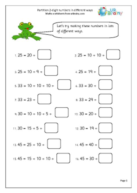 partition 2 digit numbers number and place value maths