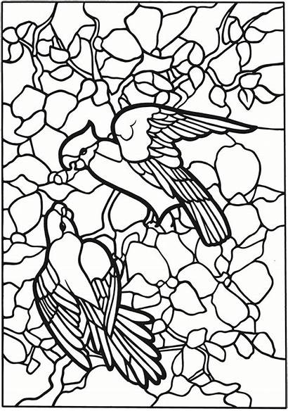 Stained Glass Coloring Pages Dover Tiffany Adult