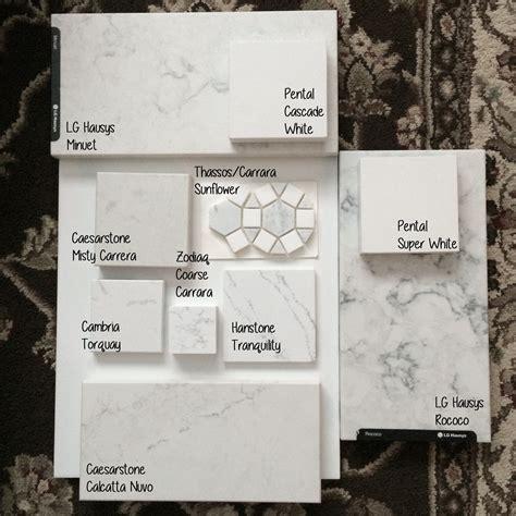 quartz options comparison sitting   glossy white tile