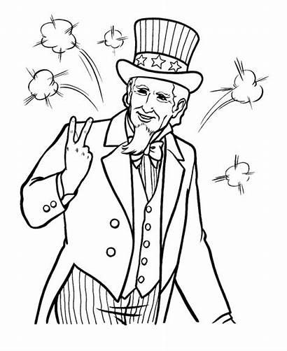 Coloring Pages Symbols July American Patriotic Uncle