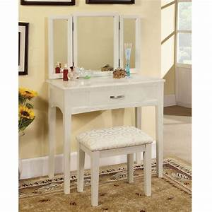 Potterville, Makeup, Vanity, Table, Tri, Bench, Drawer, Wood, White