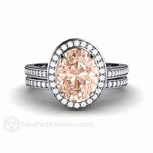 oval morganite halo wedding set with matching diamond band With wedding ring sets with colored stones