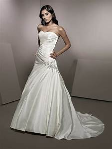 amazing a line dropped waist satin wedding dress wedding With drop waist a line wedding dress