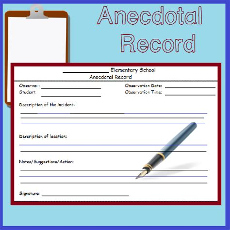 fast easy anecdotal record form anecdotal records