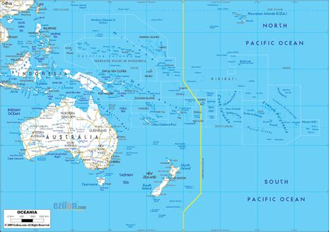 detailed clear large road map  oceania ezilon maps
