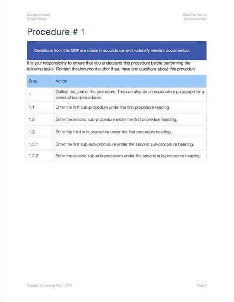 Sop Template Standard Operating Procedure Sop Apple Iwork