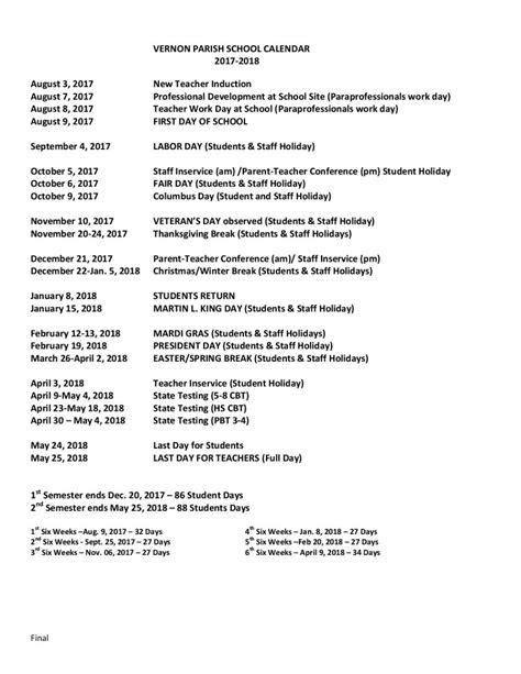 vernon parish school calendar added week