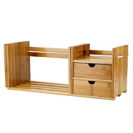 Desktop Bookcase by Keenso Bamboo Wood Extendable Desk Tabletop Book Rack