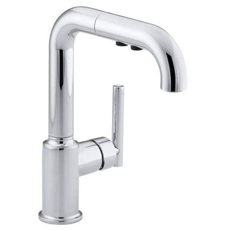 kohler pull out kitchen faucet shop kohler purist polished chrome 1 handle pull out kitchen faucet at lowes com