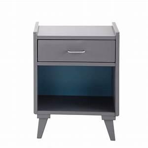 Table Chevet Grise : table de chevet grise et bleue l 42 cm theo maisons du monde ~ Teatrodelosmanantiales.com Idées de Décoration