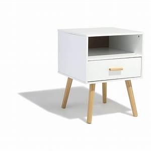 Table De Chevet Blanche Ikea : table de chevet bergen blanche 1 tiroir et 1 niche table de chevet chambre meuble gifi ~ Nature-et-papiers.com Idées de Décoration