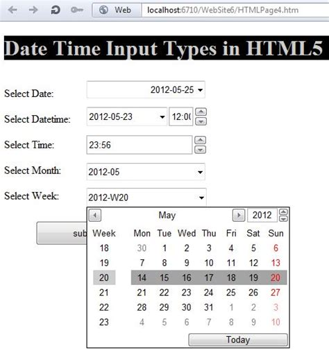 date time form input type in html5