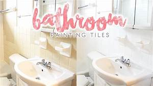 Bathroom makeover how to paint bathroom tiles youtube for How to repaint bathroom