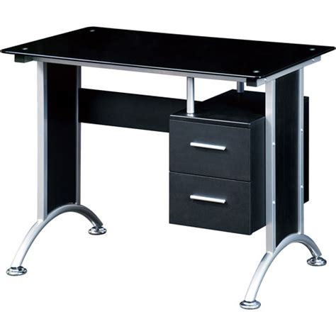 techni mobili glass top home office desk black walmart com
