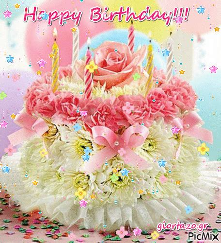pastel floral happy birthday cake gif pictures   images  facebook tumblr