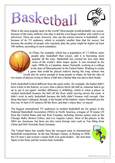 esl basketball worksheets