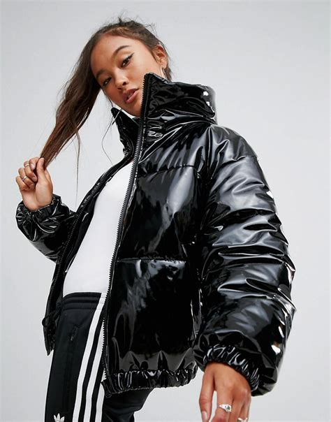 mango quilted black asos high shine patent quilted jacket in black lyst