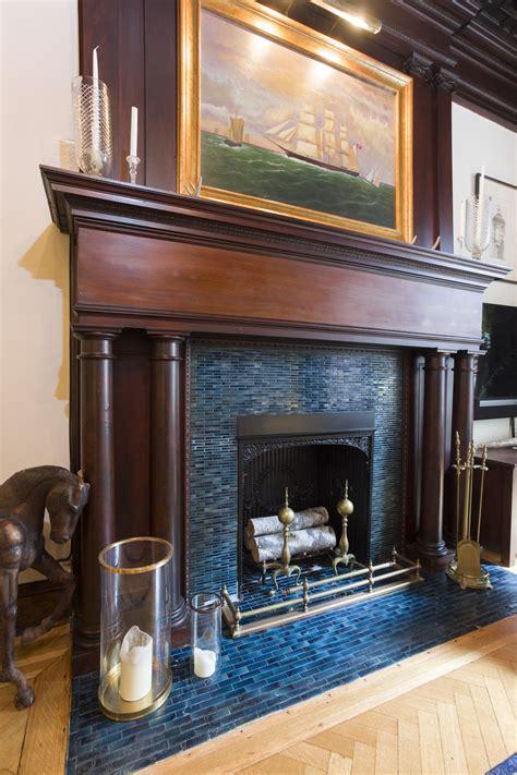 blue fireplace  design ideas remodel  decor