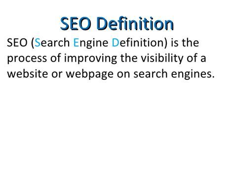 Seo Optimization Definition by Seo Definition