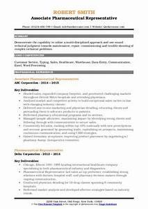 Pharmaceutical Representative Resume Samples Qwikresume