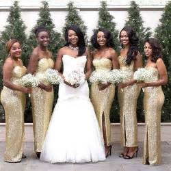 bridesmaid dresses gold 2016 new gold sequins sheath bridesmaid dresses front split formal of honor gowns strapless