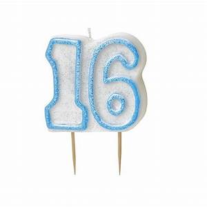 Blue Glitz Number 16 Candle 16th Birthday Cake Candles ...