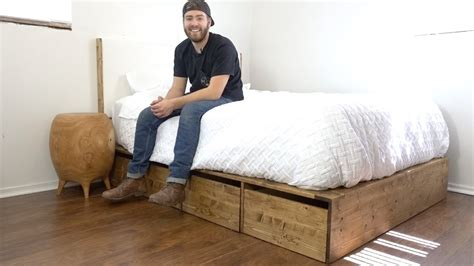 diy modern platform bed  storage modern builds ep