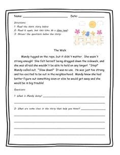 reading comprehension worksheets focus inference short reading comprehension passages