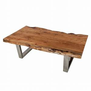 Natural edge acacia wood steel 55 long coffee table for Natural edge wood coffee table