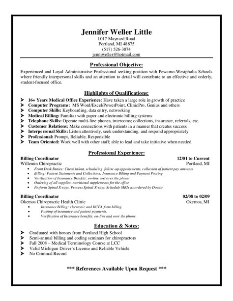 Billing And Coding Resume by Exle Resume Biller Resume Sle