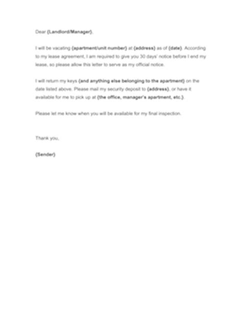 Renters 30 Day Notice Template by 30 Day Notice To Landlord Template