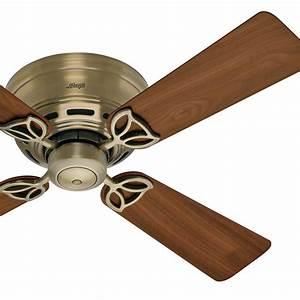 Quot hunter low profile ceiling fan in antique brass