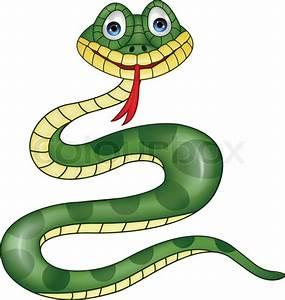 Vector illustration of Funny green snake cartoon | Stock ...