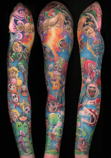 amazing video game tattoos sleeve awesome