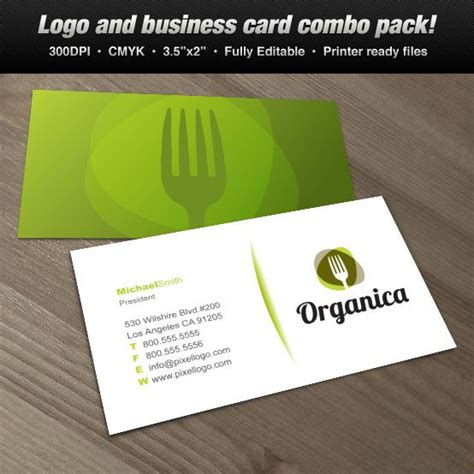 catering visiting card templates organic kitchen pixellogo logo business card set